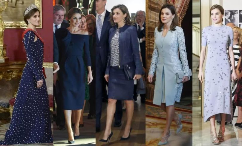 Queen Letizia's blue dresses
