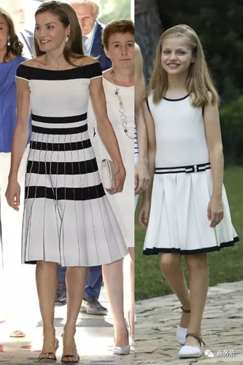 Princess Leonor's and her mother's black and white dresses