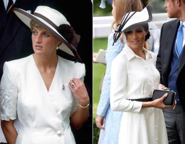 Princess Diana and Meghan's white dress