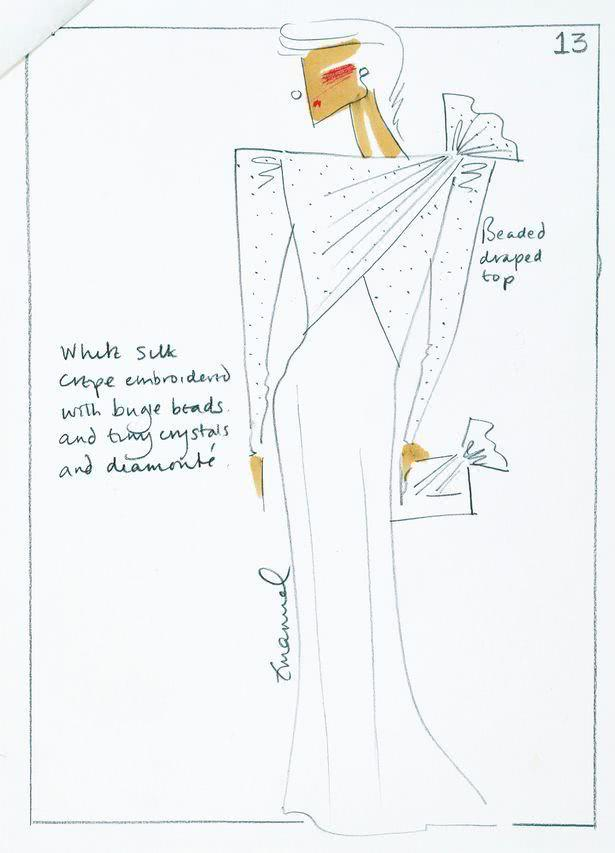 Princess Diana's dress sketch