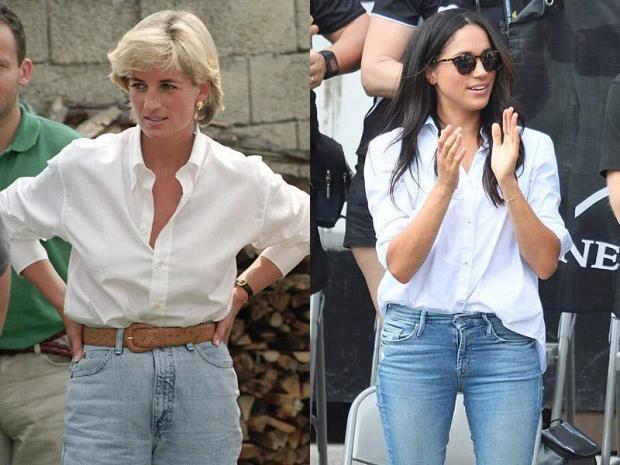 Princess Meghan and Princess Diana's white shirt