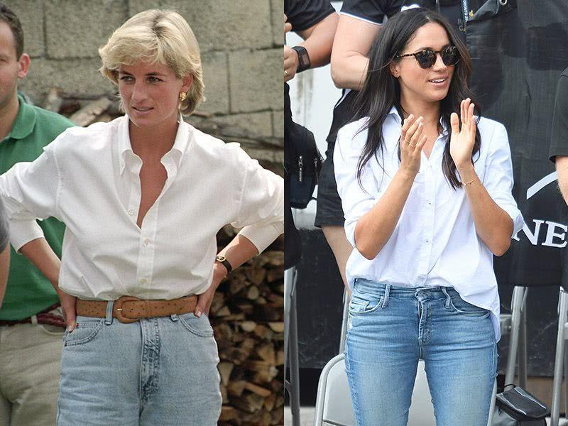 Princess Meghan and Princess Diana's white shirt