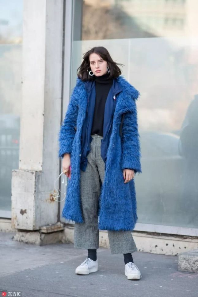 blue fur fashion style