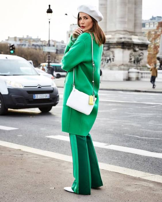 green coat with green pants