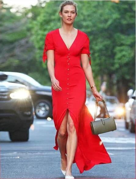 red v neck long sexy dress