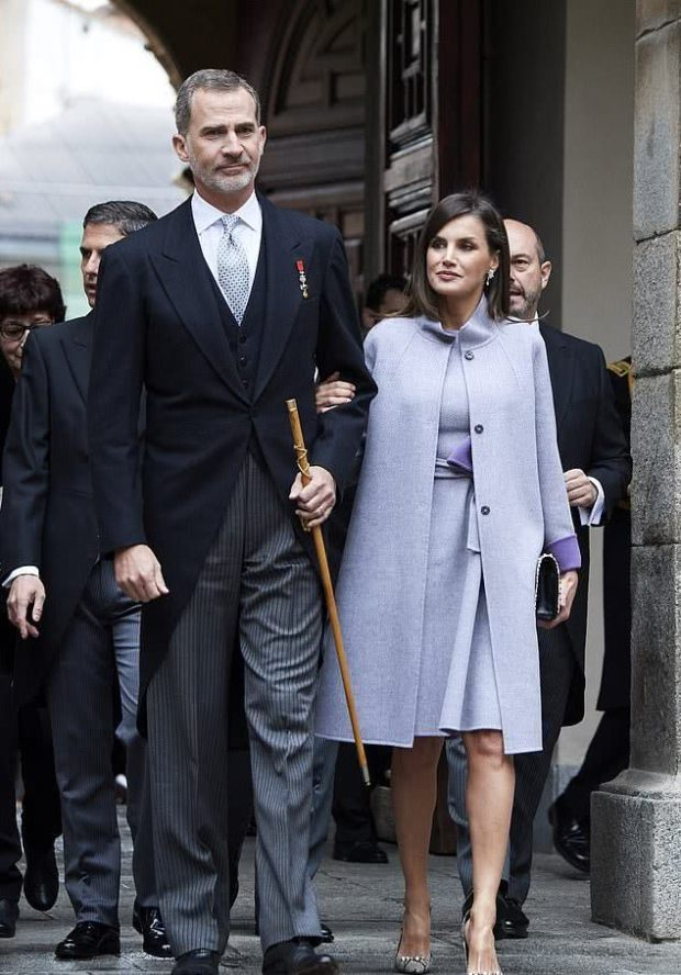 Spain Letizia's fashion light purple coat