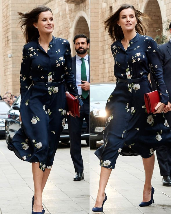 Letizia's deep blue floral dress