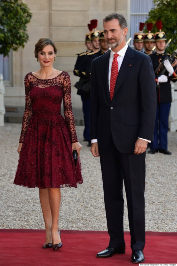 Leticia's wine red color dress