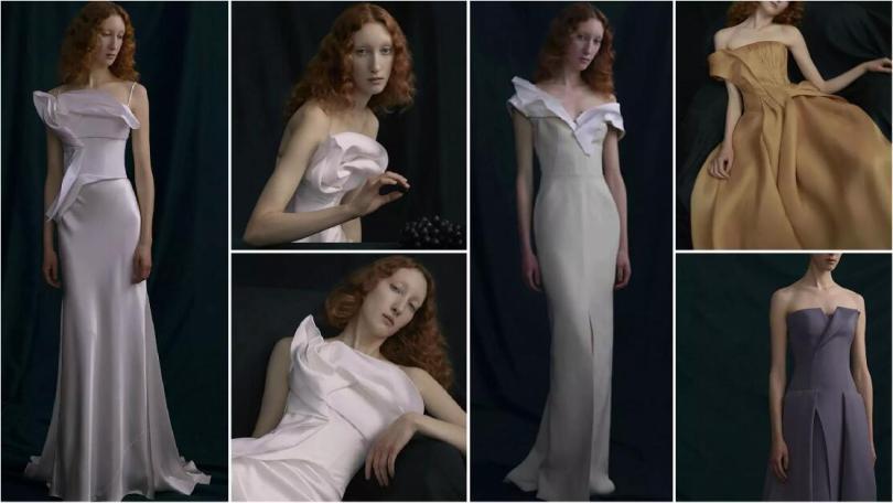 pleats wedding dresses