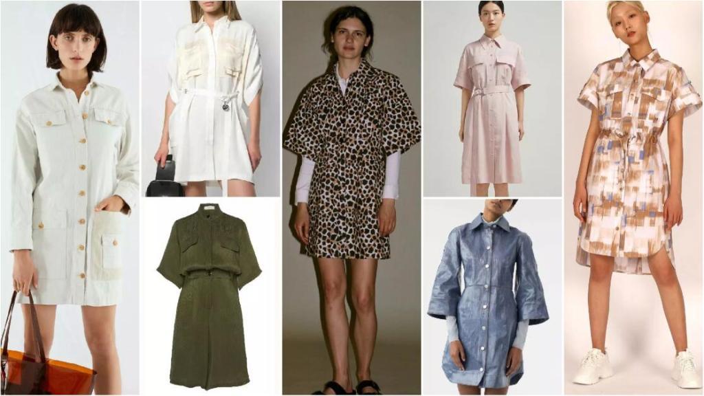 Knee-Length H-Line Shirt Dresses