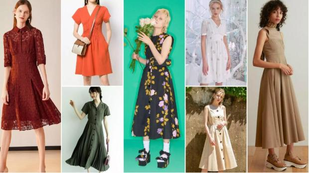 Nipped-In Umbrella-Hem X-Line Dresses