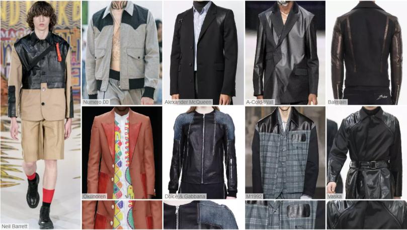 Spliced Fragments fashion leather jacket