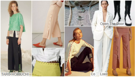 Buttoned Slit Trousers