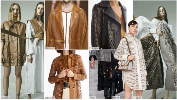 Cutout women's leather coat
